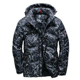 ダウンジャケット ファー付き メンズ 暖かい アウター ジャケット コート シンプル  プルオーバー アメカジ ストリート ウルトラ 秋冬 防風 防寒 M−3XL ダウン入る 50%