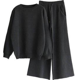 レディース ギャル服 上下 2点セット 長袖 パンツ ボトムス ゆったり ファッション  セットアップ  大きいサイズ  女子会 秋 無地 ビジネス トップス+ズボン ニット