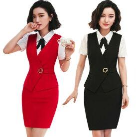 4色!ベスト レディース 通勤オフィス 入学式に七五三 OL 大きいサイズ トップス 制服 事務服 フォーマル ビジネス 細身 大きいサイズ S-XXXL セット ベスト+スカート+シャツ