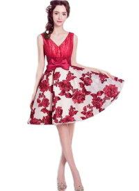 ウェディングドレス カラー ミニドレス ワンピース Vネック 結婚式パーディ- 花嫁 ドレス 編上げタイプ