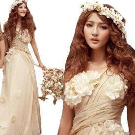 ウェディングドレス ワンピース Vネック 結婚式パーディ- 花嫁 ドレス ロング エンパイア レーン Vネック 編上げタイプ