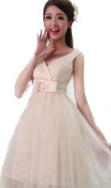 ウェディングドレス カラー ミニドレス ワンピース Vネック 結婚式パーディ- 花嫁 ドレス