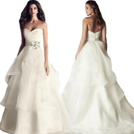 プリンセス ウェディングドレス カラー ワンピース Vネック 結婚式パーディ- 花嫁 ドレス 編上げタイプ ロング ホワイト エレガント アシンメトリー Vネック レーン 引き裾 ロングトレーン