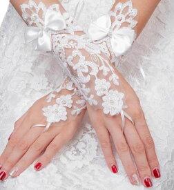 【ウェディンググローブ】ウエディング/・結婚式・ブライダル・二次会/パーティー ウエディングドレス・グローブ・ロンググローブ 大人気・レース付き フィンガーレスグローブ!フィンガーレス/ブライダル/挙式 手袋 花柄