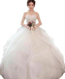プリンセス ウェディングドレス カラー ワンピース Vネック 結婚式パーディ- 花嫁 ドレス 編上げタイプ  ホワイトエレガント アシンメトリー 韓国風 ビスチェ