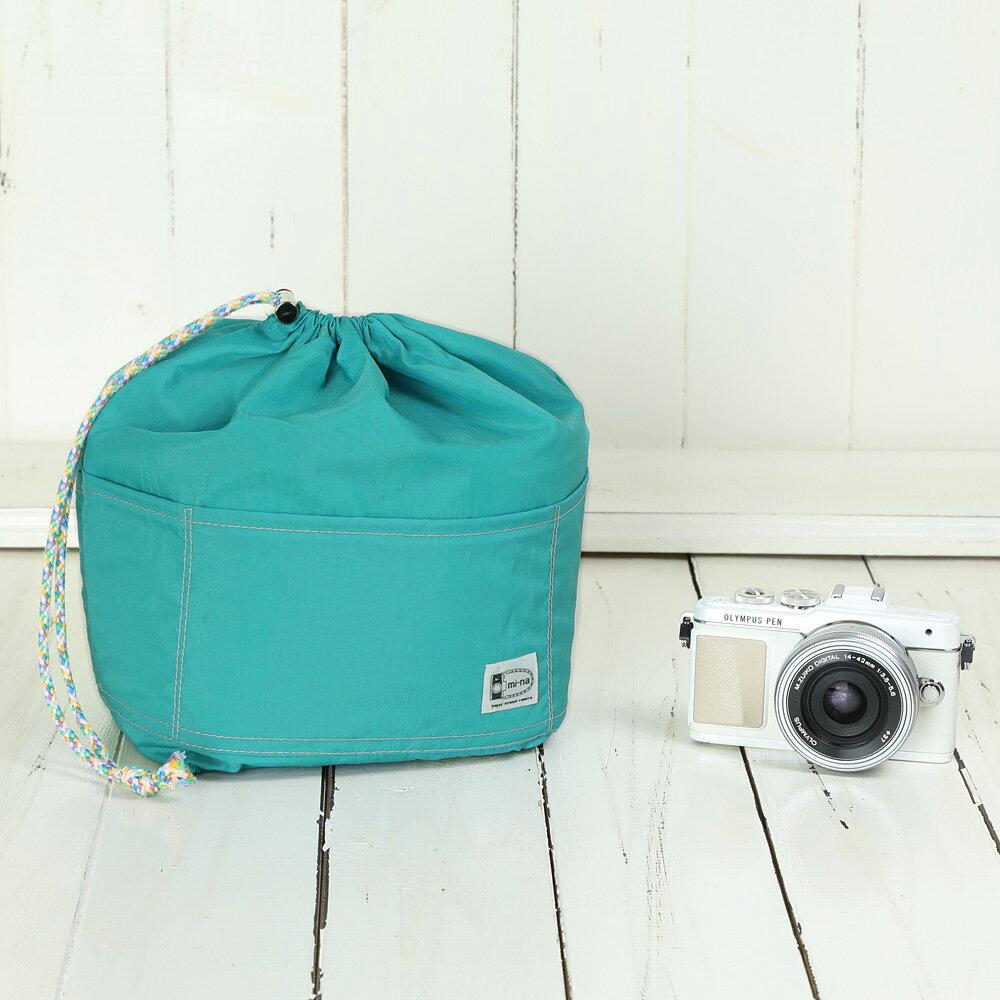 カメラバッグ おしゃれ ふわふわソフトタイプ カメラ用 12ポケットインナーバッグ/ ターコイズブルー