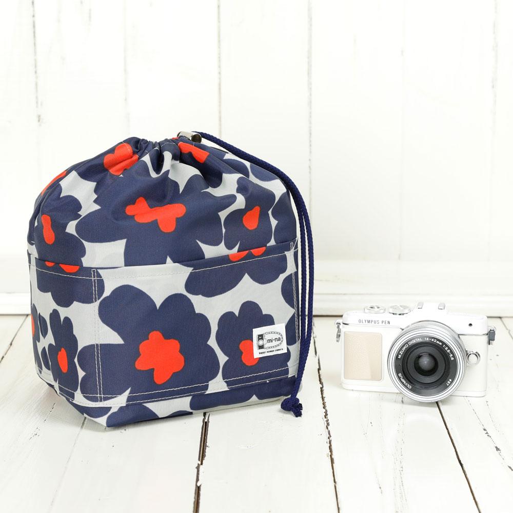 カメラバッグ おしゃれ ふわふわソフトタイプ カメラ用 12ポケットインナーバッグ/ ネイビーフラワーポピー