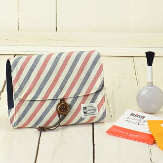 Camera girl ♪ care for pretty porch and camera set / French horizontal stripe Malin