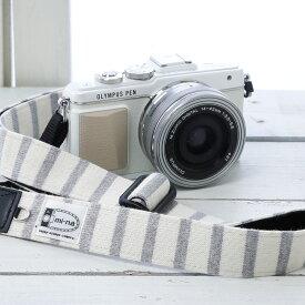 カメラストラップ mi-na ミーナ / ナチュラルベーシックボーダー/長さ調節タイプ