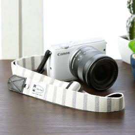 Canon M100 KissM 対応 カメラストラップ /取付テープ 8mm幅 【フリータイプ】/ナチュラルベーシックボーダー