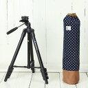 三脚 軽量 ビデオカメラ ミラーレス一眼 かわいいケースとコンパクト三脚(ブラック)の2点セット/ ダークネイビードット
