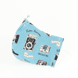 (男性用) ポケット付き♪ 3重構造の立体マスク / レトロカメラリネンブルー
