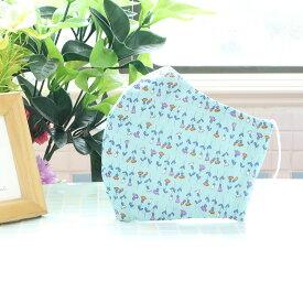 (女性用) ポケット付き♪ 3重構造の立体マスク / 小花標本ブルー