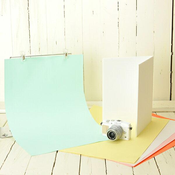 テーブルフォト ミニスタジオ シンプル背景紙スタンドと背景紙・レフ板の3点セット