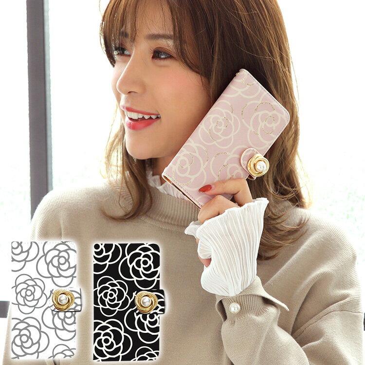 iphone X iphone 8 ケース iphone 8 plus iphone 7 iphone7 plus iphone se スマホケース 手帳型 カバー 送料無料 全機種対応 ケース Xperia Galaxy Arrows 手帳型ケース フラワー 花柄 バラ柄 薔薇 カメリア