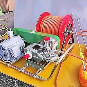 ミナト 中型3連動噴 QP-PS25 三相200V3HPモーター+50mホースリール付セット [エンジン式 動噴 噴霧器 噴霧機]