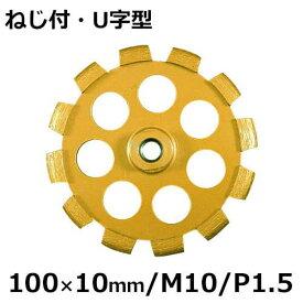 アイウッド ダイヤモンドホイール 溝入れダイヤモンドカッター ねじ付・U字型 89727 (100×10mm/M10/P1.5)