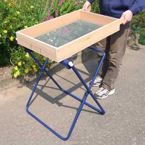 手動式 砂・土ふるい器セット 《ローラー台+木製篩い付き》