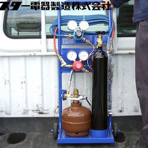 スズキッド 携帯ガス溶接切断機 500SSZ 『ガスタンクミニ』 (運搬台車付)