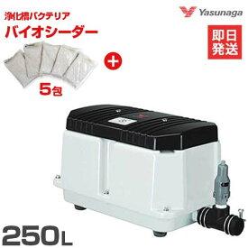 安永エアポンプ エアーポンプ LW-250 バイオシーダー5包セット [浄化槽 エアポンプ ブロアー ブロワ ブロワー]