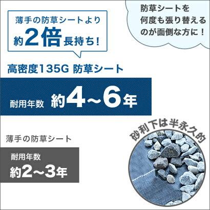 高密度135G防草シート1m×10mブラック