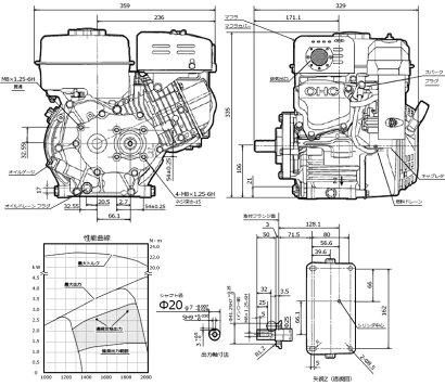 ロビンOHCガソリンエンジンEX17-2B(1/2減速型/最大5.7HP)
