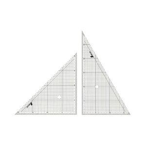 シンワ測定 三角定規 アクリル製 30cm 方眼目盛付 2枚組 77062 4960910770621