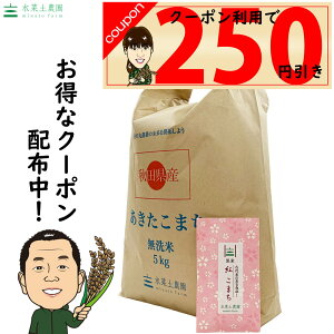【おまけ付き】【クーポン配布中】秋田県産 農家直送 あきたこまち 無洗米5kg 令和2年産 / 古代米お試し袋付き