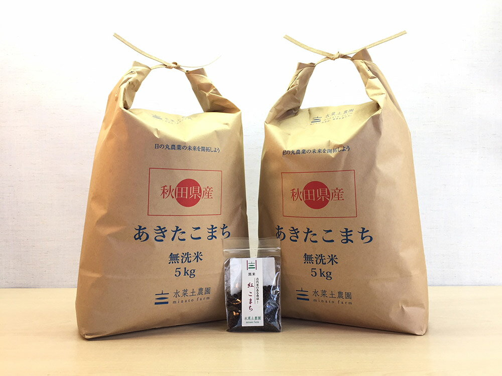 新米【精米】秋田県産 農家直送 無洗米あきたこまち 子どもに食べさせたいお米 10kg(5kg×2袋)平成30年産 古代米付き