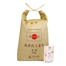【おまけ付き】秋田県産 農家直送 あきたこまち 玄米 5kg 令和 2年産 / 古代米お試し袋付き