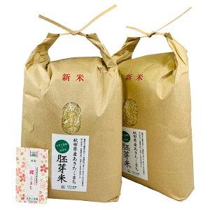 【おまけ付き】秋田県産 農家直送 水菜土農園の胚芽米 あきたこまち 10kg(5kg×2袋) 令和 2年産 / 古代米お試し袋付き