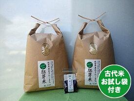 【胚芽精米】秋田県産 農家直送 水菜土農園の胚芽米 10kg(5kg×2袋) 令和元年産 / 古代米(赤米or黒米)お試し袋付き