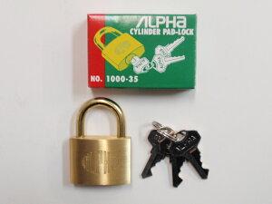 ALPHA(アルファ)シリンダー南京錠 No.1000 35mm 同一鍵 20E35