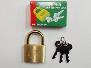 ALPHA(アルファ)シリンダー南京錠 No.1000 40mm 同一鍵 30E040