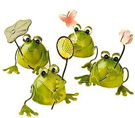 幸運をもたらす 4匹の小さな カエル プチ 置物 インテリア としても最高 ブリキで作られた かわいい 蛙 の オブジェ (葉 網 花 蝶) 【送料無料】ctr-862