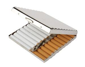 クール な タバコ ケース シガレットケース キング サイズ / ショート ( 85mm ) 20本 収納 シルバー 【送料無料】ctr-b38
