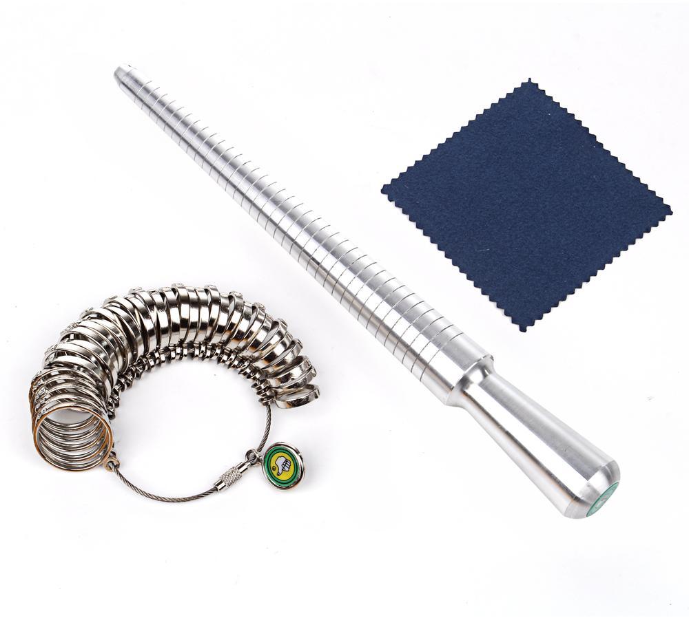 サイズ計測 リングゲージ & リング サイズ棒 セット 指輪サイズ 1号−33号 シルバー クロス付 【送料無料】ctr-e75