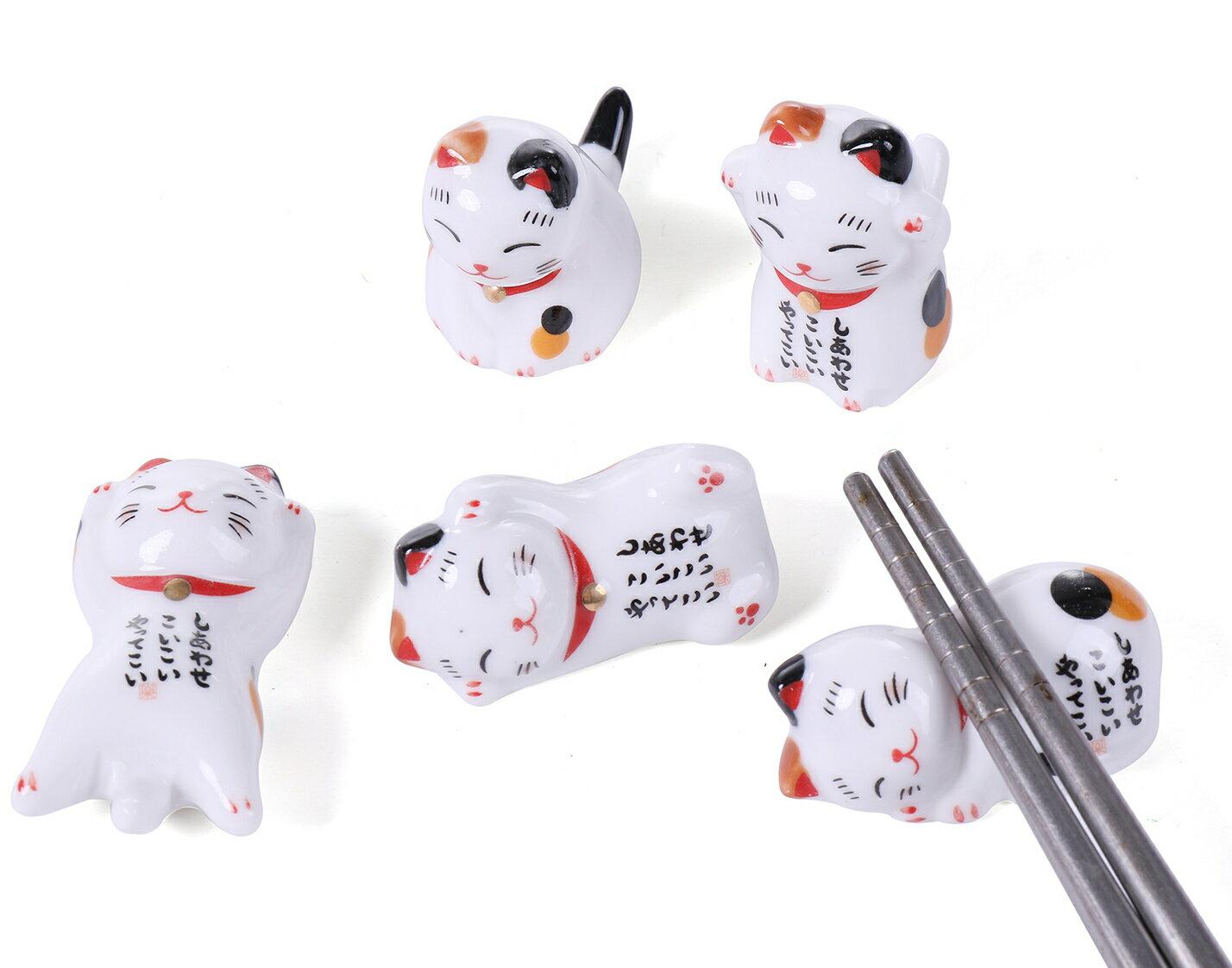 かわいい 招き猫 しあわせ 猫 ねこ 箸置き はし置き 5個セット 食卓 テーブル カトラリー インテリア 【送料無料】ctr-h09