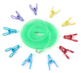 ステンレス製 洗濯バサミ ピンチ 20個 ハンガーストップ 洗濯 ロープ 5mセット 物干し 家事 ランドリー 【送料無料】ctr-h24