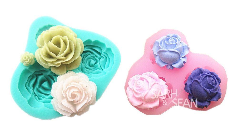 2個セット 美しい バラ 3ピース 4ピース シリコンモールド アロマ 石鹸 樹脂 粘土 レジン シリコン モールド 型 細工道具8本付 【送料無料】mmk-g44