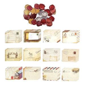大容量 レトロ アンティーク ミニ 封筒 12種類 60枚セット シーリングワックスシール付 感謝 お礼 【送料無料】mmk-n31