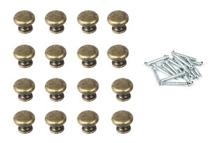 DIY 用 アンティーク レトロ 24×20mm 丸型 取っ手 ブロンズ 16個セット ネジ付 交換にも つまみ 【送料無料】mmk-n43