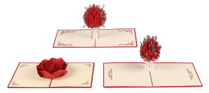 ローズ の 飛び出す ポップアップ メッセージカード 3種類セット 封筒付 グリーティングカード プレゼント 感謝 結婚祝い 【送料無料】mmk-p03