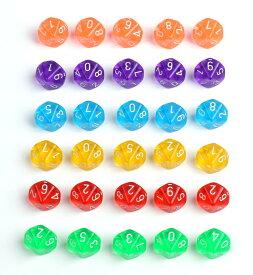 【30個セット】 10面 サイコロ 小 ゲーム ダイス おもちゃ カラフル 6色各5個入り 18mm TRPG 【送料無料】mri-a63