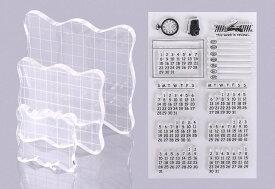 アクリルブロック アクリルパネル クリア 3個 & カレンダー シール スタンプ ラバー DIY 手作り 道具 【送料無料】mri-c02