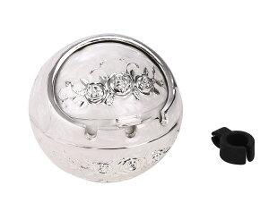 ヴィンテージ おしゃれ ヨーロッパ 風 白銀 バラ ふた付 灰皿 煙草クリップ付 アシュトレイ 置物 【送料無料】mri-d40