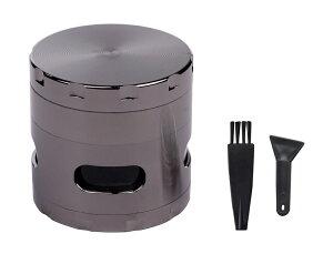 高品質 タバコ グラインダー 4層式 亜鉛合金 携帯加湿器付 手巻き 煙草 葉巻 ハーブ ミル 粉砕 【送料無料】mri-d70
