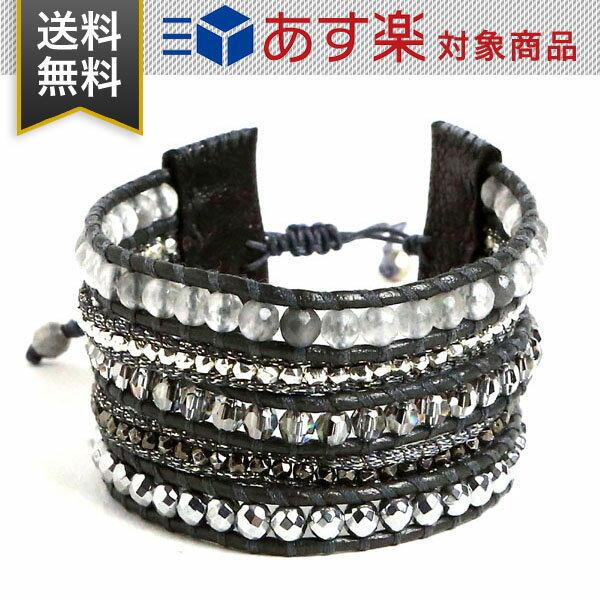 チャンルー ブレスレット レディース 5連 CHAN LUU BS 5542 SILV HMTN MIX ラップブレスレット ストーンビーズ ミックス ブラック レザー