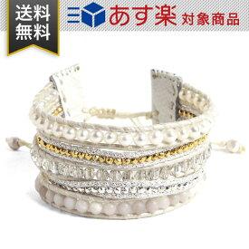 チャンルー ブレスレット レディース 5連 CHAN LUU BS 5542 WHT PRL MIX ラップブレスレット ストーンビーズ ミックス ホワイト レザー