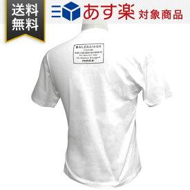 バレンシアガ Tシャツ BALENCIAGA 496052 TXK46 9000 クルーネック 丸首 コットン ホワイト スリット入り